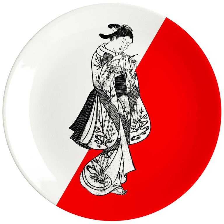 Japanese Porcelain Dinner Plate by Plus Lab, Made in Italy For Sale