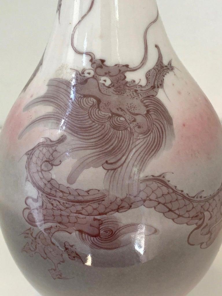 Japanese Porcelain Dragon Glazed Vase Mazuku Kozan For Sale 1