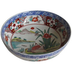 Japanese Porcelain Footed Bowl Hand-Painted Polychrome Water Side Scene, Meiji