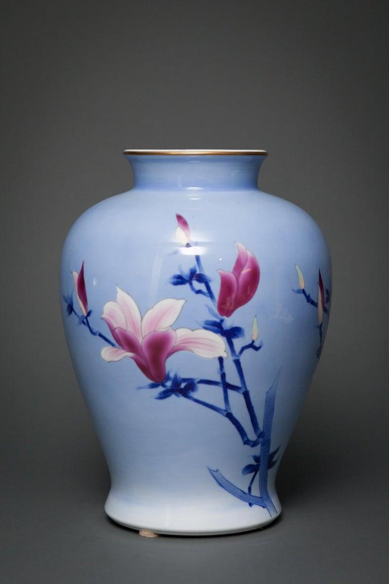 Japanese Porcelain Studio Art Vase In Good Condition For Sale In Hudson, NY