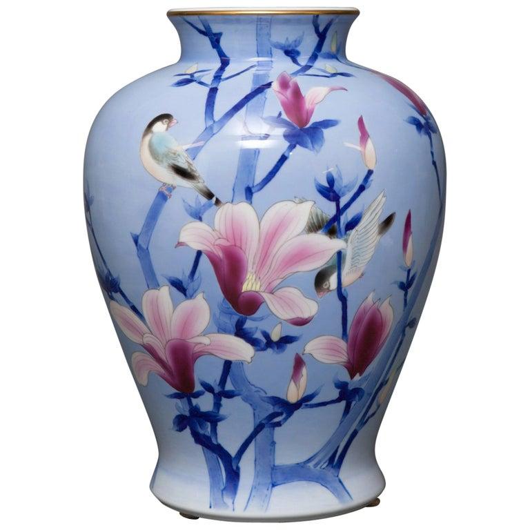Japanese Porcelain Studio Art Vase For Sale