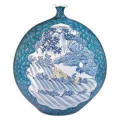 Japanese Porcelain Vase Blue Green by Contemporary Master Artist