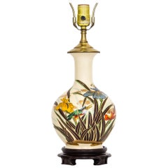 Japanese Porcelain Vase Table Lamp With Irises