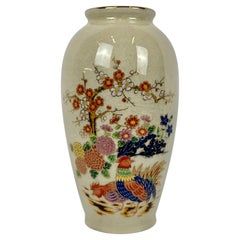 Japanese Porcelain Vase with Delicate Hand Painted Floral Spray