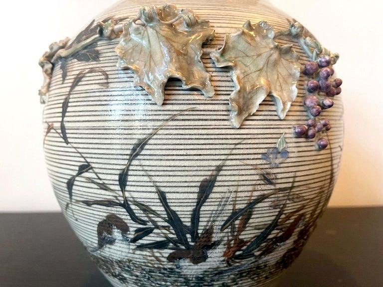 Japanese Porcelain Vase with Relief Surface Makuzu Kozan For Sale 6