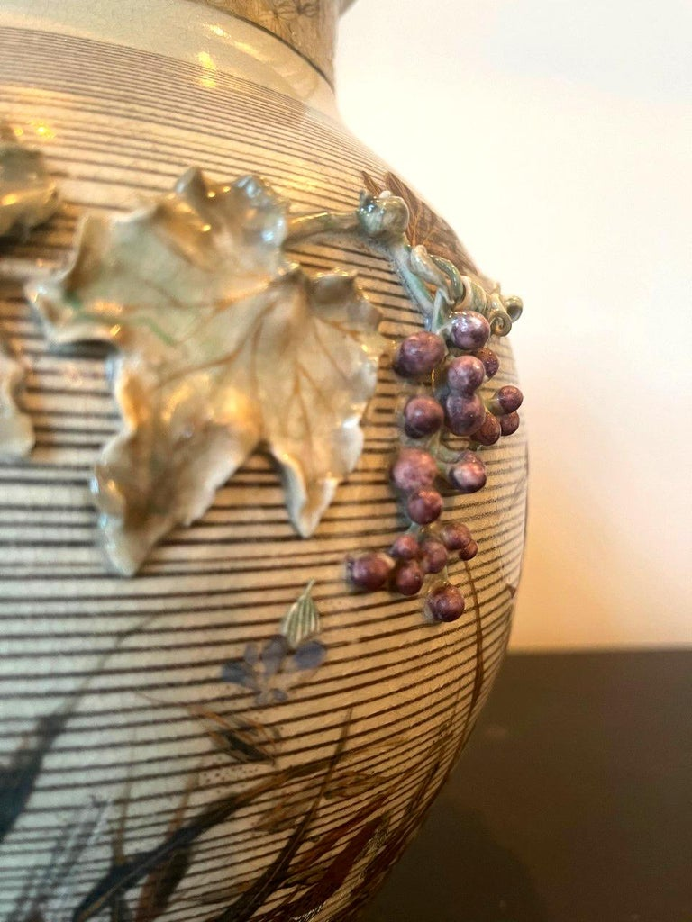 Japanese Porcelain Vase with Relief Surface Makuzu Kozan For Sale 8