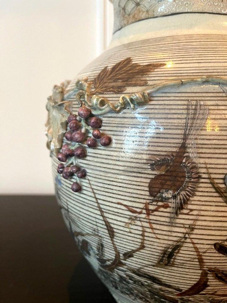 Japanese Porcelain Vase with Relief Surface Makuzu Kozan For Sale 9