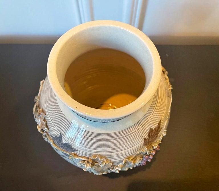 Ceramic Japanese Porcelain Vase with Relief Surface Makuzu Kozan For Sale