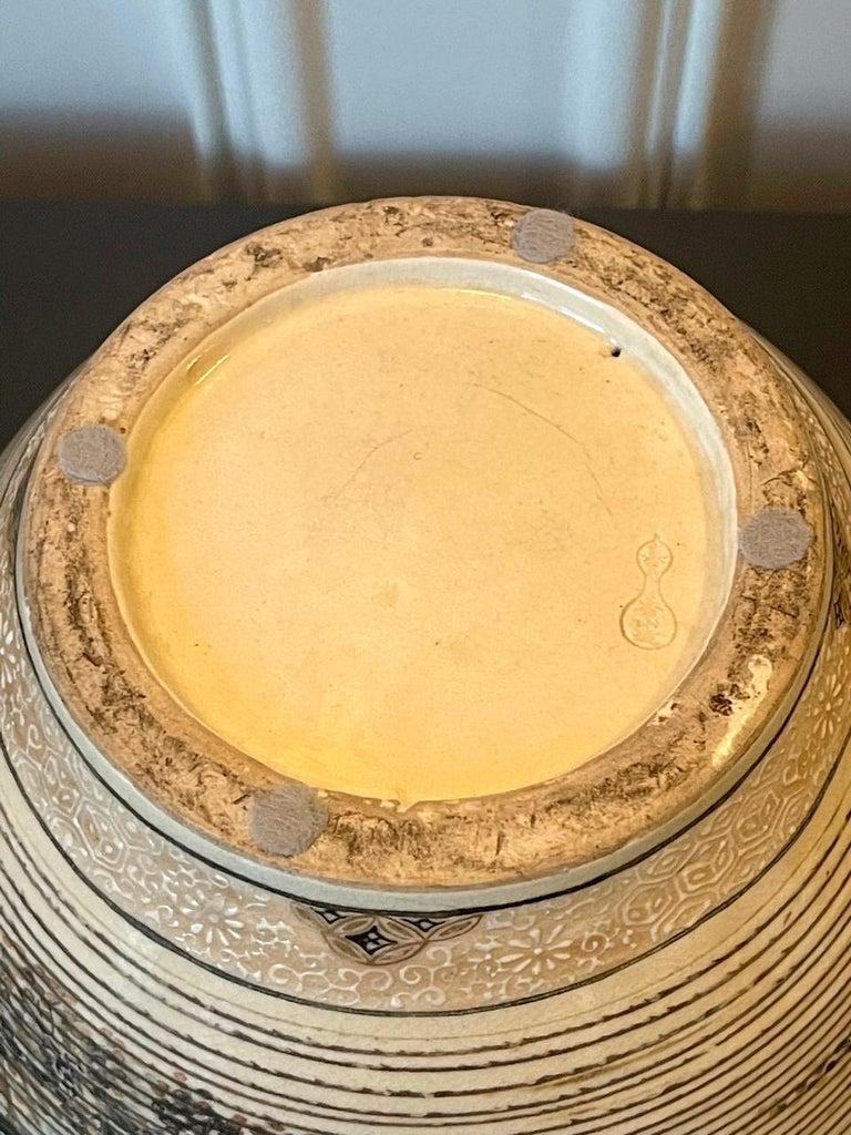 Japanese Porcelain Vase with Relief Surface Makuzu Kozan For Sale 1