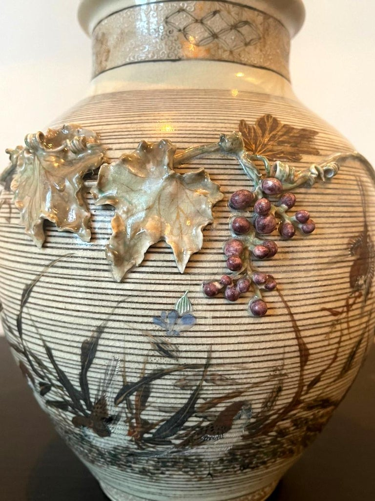 Japanese Porcelain Vase with Relief Surface Makuzu Kozan For Sale 2
