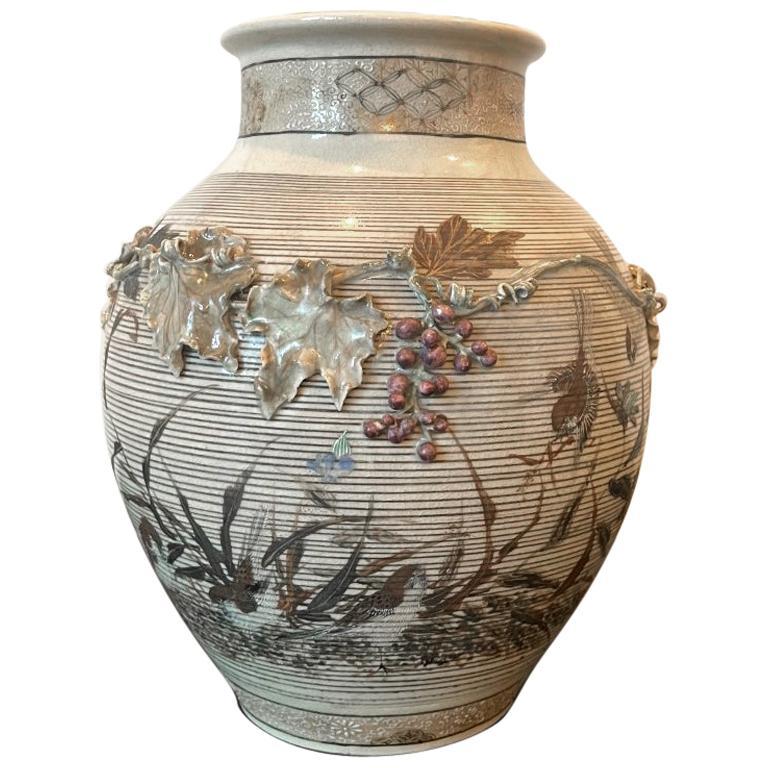Japanese Porcelain Vase with Relief Surface Makuzu Kozan For Sale