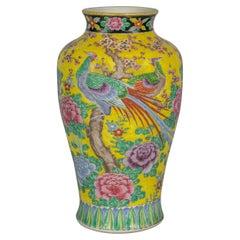Japanese Porcelain Yellow Vase, circa 1900