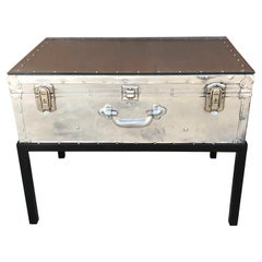 Japanese Post War Aluminum Riveted Trunk on Iron Stand with Glass Top, Restored
