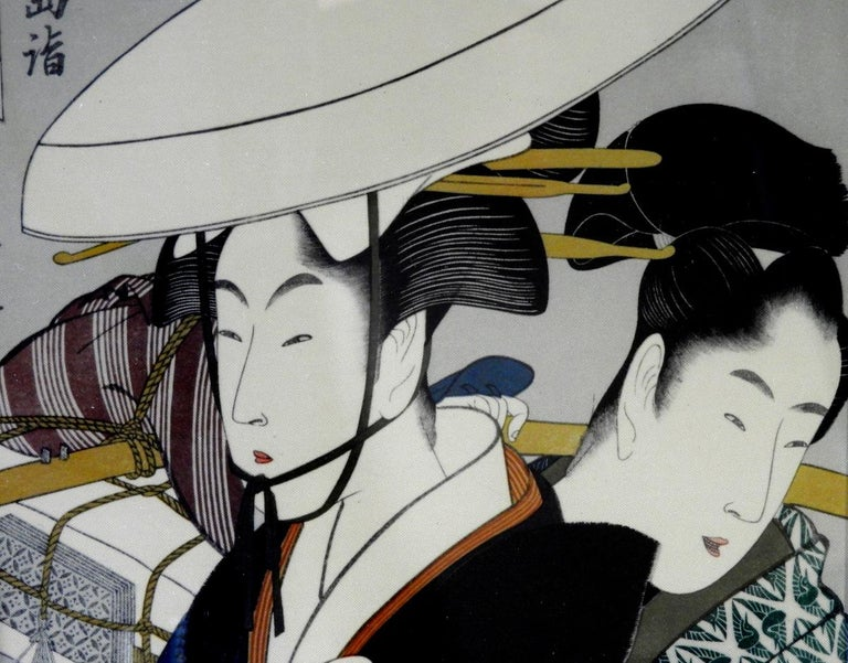 Japonisme Japanese Prints on Silk Set of 4 with