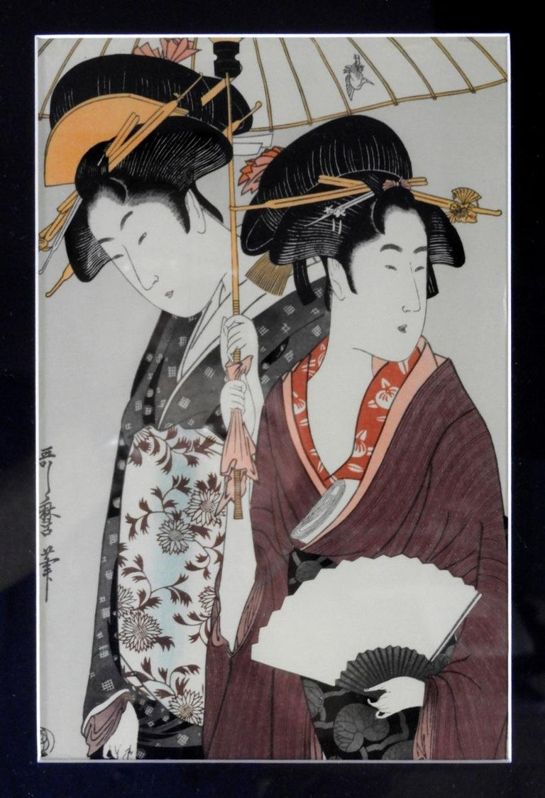 Japanese Prints on Silk Set of 4 with