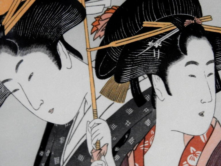 1880s Japanese Prints on Silk Set of 4 with