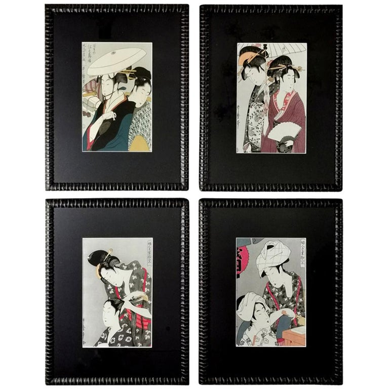 """Japanese Prints on Silk Set of 4 with """"Faux Bamboo"""" Frame, 1880-1890 For Sale"""