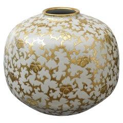 Japanese Pure Gold Cream Porcelain Vase by Master Artist