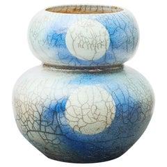 Japanese Raku Blue and Grey Ceramic Vase Stamped with Monogram