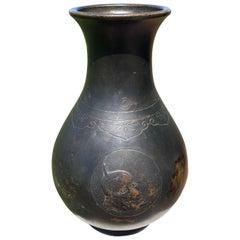 "Japanese Rare Early ""Noh Play Mask"" Bronze Vase"