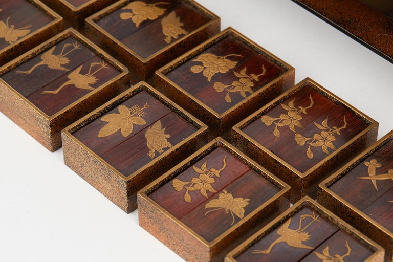 Japanese Rare Lacquered Wood Sensory Game, 19th Century For Sale 7