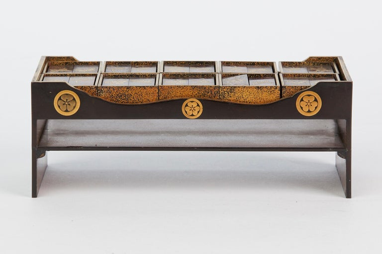Japanese Rare Lacquered Wood Sensory Game, 19th Century For Sale 9