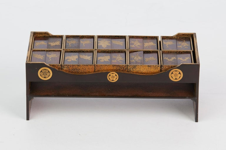 Edo Japanese Rare Lacquered Wood Sensory Game, 19th Century For Sale