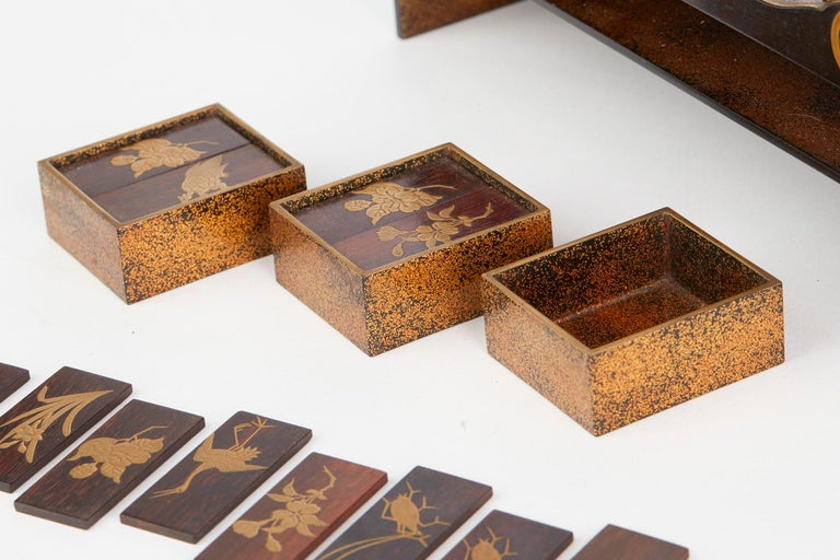Japanese Rare Lacquered Wood Sensory Game, 19th Century For Sale 3