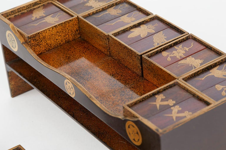 Japanese Rare Lacquered Wood Sensory Game, 19th Century For Sale 4