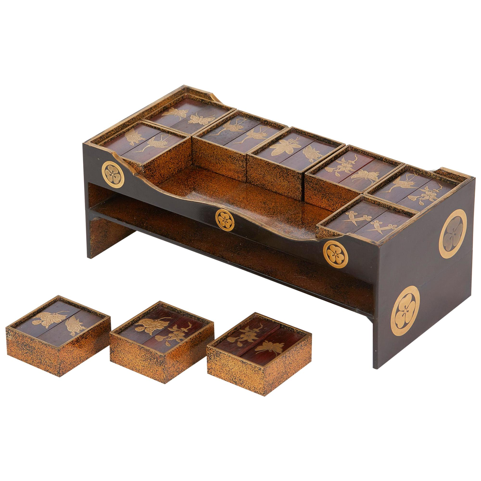 Japanese Rare Lacquered Wood Sensory Game, 19th Century