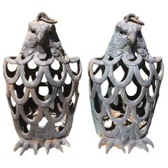 "Japanese Rare Pair of ""Eagle"" Garden Lanterns"
