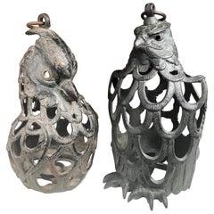 """Japanese Rare Pair of """"Male & Female Eagle"""" Flower Garden Lanterns"""