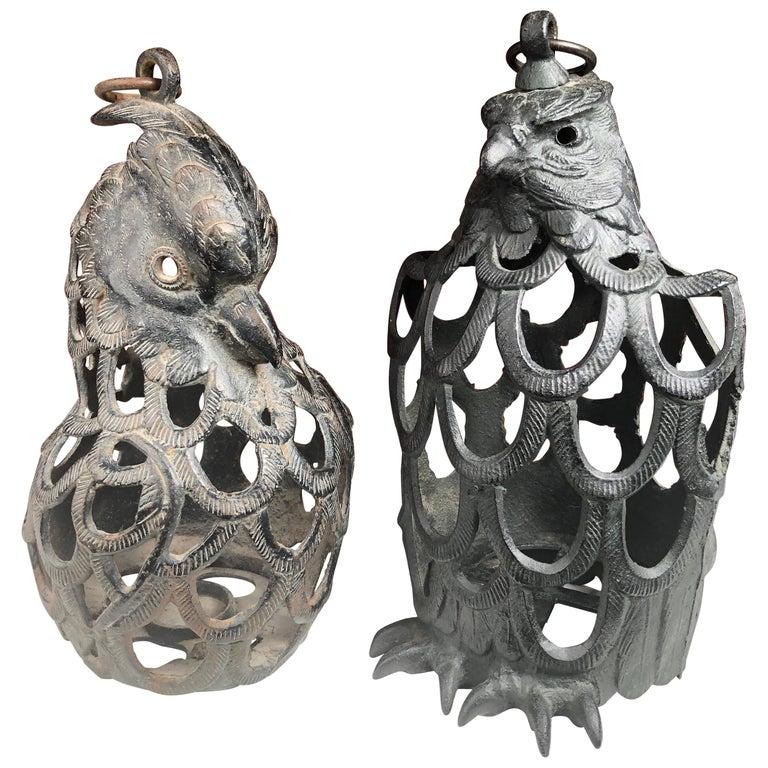 """Japanese Rare Pair of """"Male & Female Eagle"""" Flower Garden Lanterns For Sale"""