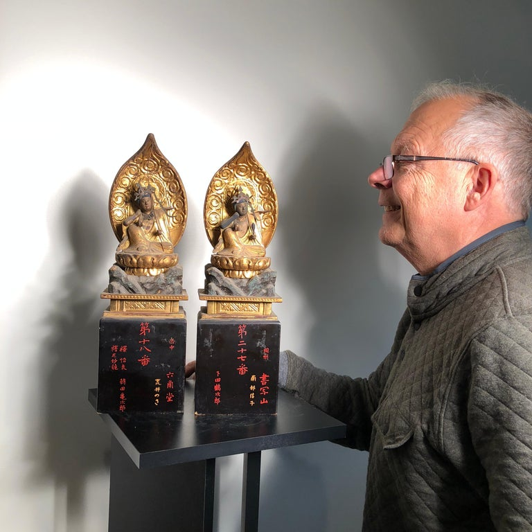 Unusual pair Nyoirin Kanon depictions protectors of mankind.  These scarce and lovely Japanese temple finds, a pair of gold gilt and lacquered wooden Kanon, Guan yin and Bodhisattva, standing tall and with multiple arms and hands in assisting