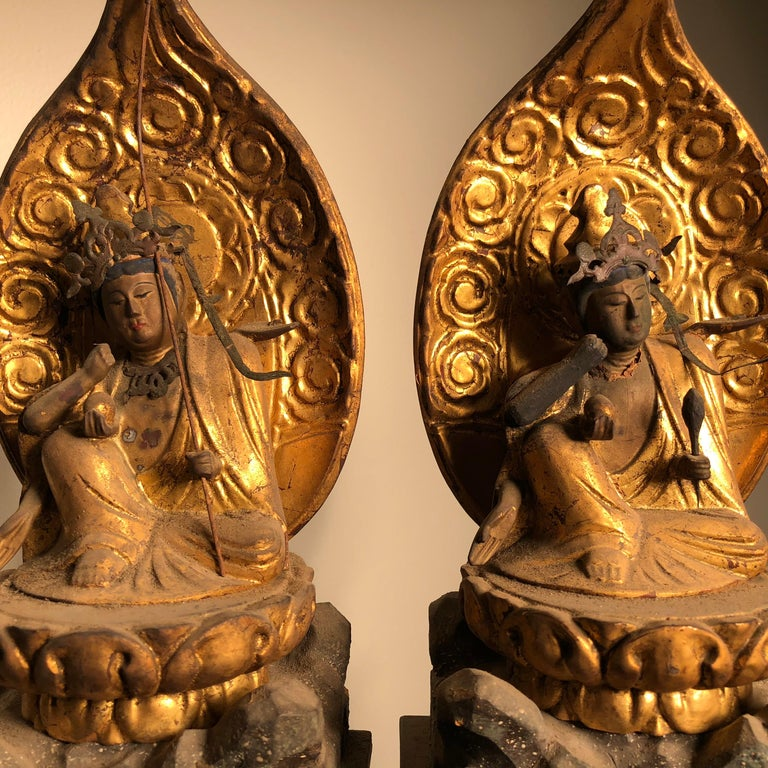 Hand-Carved Japanese Rare Pair of Protection Nyoirin Kanon Protectors of Mankind For Sale