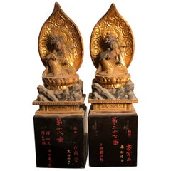 Japanese Rare Pair of Protection Guan Yin Kanon, Five Arms to Protect Mankind