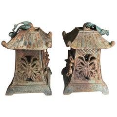 Japanese Rare Pair Old Butterfly Garden Lanterns