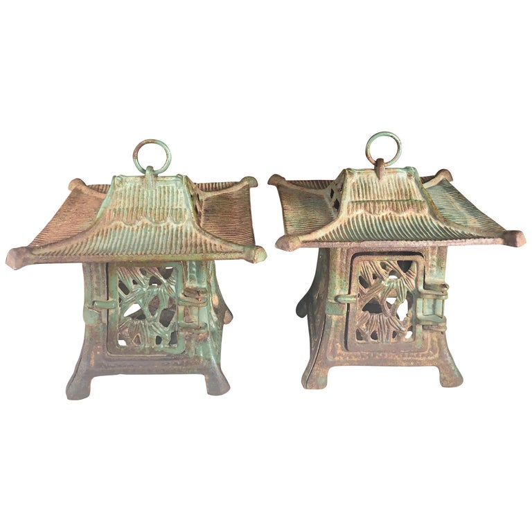 "Japanese Rare Pair of Old ""Flowers & Bamboo"" Flower Garden Lanterns For Sale"