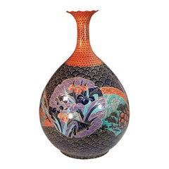 Japanese Red Black Gilt Porcelain Vase by Master Artist