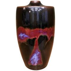 Japanese Red Black Hand-Glazed Porcelain Vase by Contemporary Master Artist