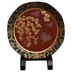 Japanese Red Black Porcelain Platter by Kutani Master Artist