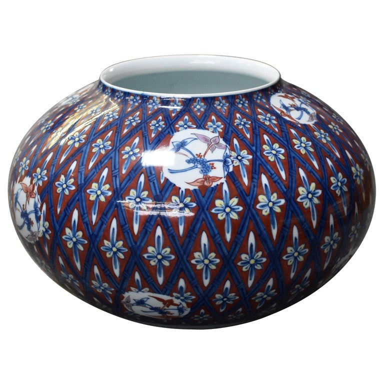Japanese Red Blue Contemporary Porcelain Vase by Master Artist For Sale