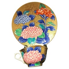 Japanese Red Blue Gold Porcelain Cup and Saucer by Contemporary Master Artist