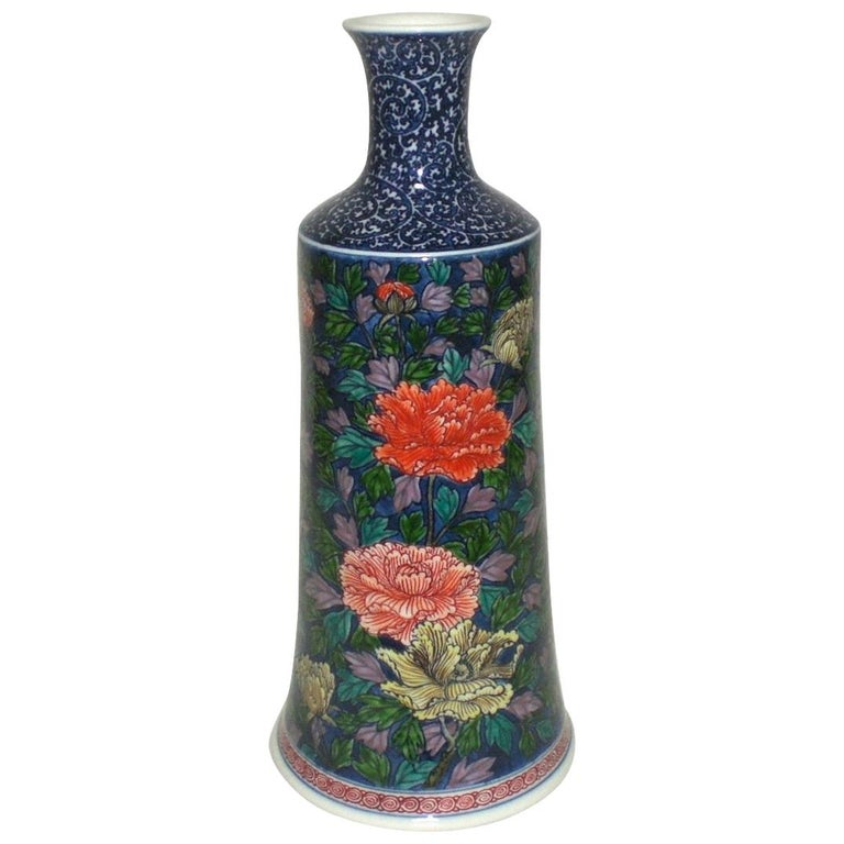 Japanese Red Blue Porcelain Vase by Contemporary Master Artist For Sale