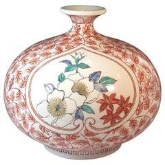 Japanese Red Green White Porcelain Vase by Contemporary Master Artist