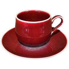 Japanese Red Hand-Glazed Porcelain Cup Saucer by Contemporary Master Artist