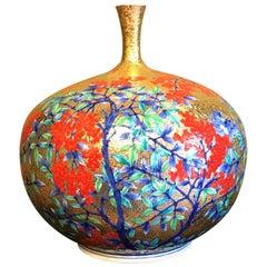 Japanese Red Imari Gilded Porcelain Vase by Contemporary Master Artist