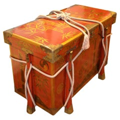 Japanese Red Lacquered Trunk Meiji Period