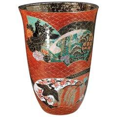 Japanese Red Platinum-Gilded Porcelain Vase by Master Artist