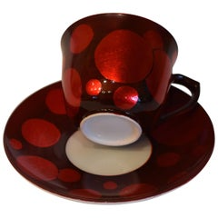 Japanese Red Porcelain Cup and Saucer by Master Artist